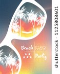 summer beach party flyer design ... | Shutterstock .eps vector #1125808601