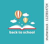 open book with air balloon and... | Shutterstock .eps vector #1125814724