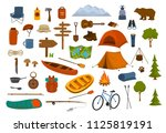 camping hiking gear and... | Shutterstock .eps vector #1125819191