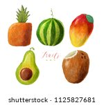 watercolor painted collection... | Shutterstock . vector #1125827681