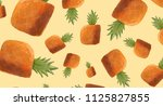 pineapple pattern. hand drawn... | Shutterstock . vector #1125827855