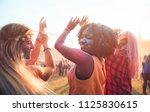 multiethnic girls covered in... | Shutterstock . vector #1125830615