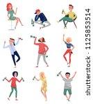 smiling drunk people set  happy ... | Shutterstock .eps vector #1125853514