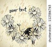 camomile flower grunge frame | Shutterstock .eps vector #112586765