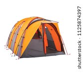 orange camping tent isolated on ... | Shutterstock . vector #1125874397
