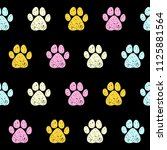 doodle dog paw seamless pattern ... | Shutterstock .eps vector #1125881564