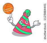 with basketball party hat... | Shutterstock .eps vector #1125884441