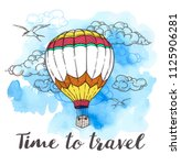 vintage travel background with... | Shutterstock .eps vector #1125906281