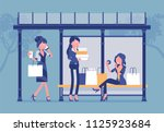 girls at bus stop after big... | Shutterstock .eps vector #1125923684