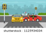 broken traffic light with... | Shutterstock .eps vector #1125934034