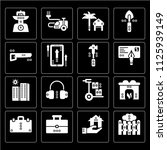 set of 16 icons such as picket  ...