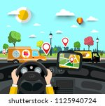 car on street with gps... | Shutterstock .eps vector #1125940724
