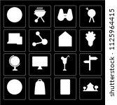 set of 16 icons such as tent ... | Shutterstock .eps vector #1125964415