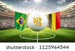 Stock photo brazil vs belgium soccer concept white soccer ball with the flag in the stadium d render 1125964544