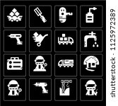 set of 16 icons such as pipe ...