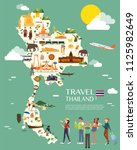 thailand map with colorful... | Shutterstock .eps vector #1125982649