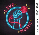 live music neon light glowing... | Shutterstock .eps vector #1126014287