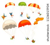 skydivers flying with... | Shutterstock .eps vector #1126015934