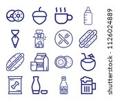 set of 16 food outline icons... | Shutterstock .eps vector #1126024889