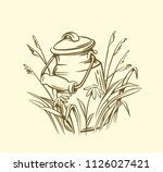 milk cans with grass country... | Shutterstock .eps vector #1126027421