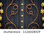 wrought iron gates  ornamental... | Shutterstock . vector #1126028429