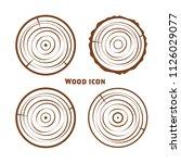 wooden icons  vector wooden... | Shutterstock .eps vector #1126029077