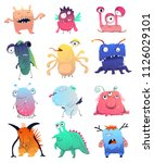 cute monsters set. cartoon...   Shutterstock .eps vector #1126029101