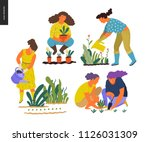 people summer gardening   set... | Shutterstock .eps vector #1126031309