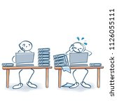 stick figures as two colleagues ... | Shutterstock .eps vector #1126055111