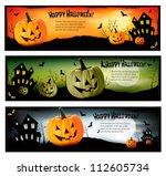 three halloween banners. vector.   Shutterstock .eps vector #112605734