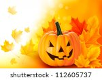 scary halloween pumpkin with... | Shutterstock .eps vector #112605737