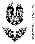 Two bike tattoos in tribal style for t-shirt design, such a logo. Jpeg version also available in gallery - stock vector