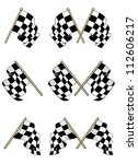 checkered flags set with double ... | Shutterstock .eps vector #112606217
