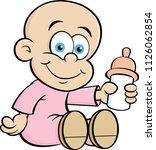 cartoon illustration of a baby... | Shutterstock .eps vector #1126062854