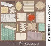 vintage paper set. vector... | Shutterstock .eps vector #112607207