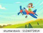 boy flying in airplane. funny... | Shutterstock .eps vector #1126072814