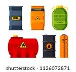 big oil tanks. set of barrels... | Shutterstock .eps vector #1126072871