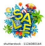 summer sale banner with paper... | Shutterstock .eps vector #1126080164