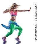 one caucasian woman zumba... | Shutterstock . vector #1126082654
