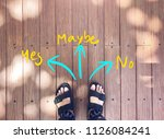 selfie feet on wooden... | Shutterstock . vector #1126084241