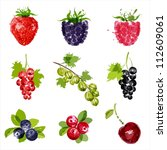 set of vector juicy ripe... | Shutterstock .eps vector #112609061