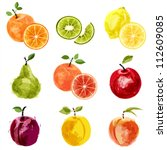set of vector juicy ripe fruits ... | Shutterstock .eps vector #112609085
