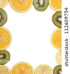 sliced fruit on the white tray | Shutterstock . vector #112609754