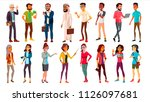 multinational people set. crowd ... | Shutterstock . vector #1126097681