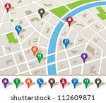 city map with navigation icons | Shutterstock .eps vector #112609871