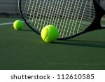 tennis balls with a racket | Shutterstock . vector #112610585