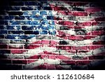 American Flag On Old Brick Wall ...