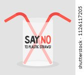 say no to plastic straws.... | Shutterstock .eps vector #1126117205