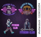 neon fitness club sign on brick ... | Shutterstock .eps vector #1126121054