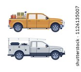 flat offroader suv pickup truck ...   Shutterstock .eps vector #1126135007
